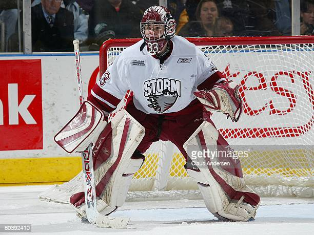 Thomas McCollum of the Guelph Storm waits for a shot in a game against the London Knights on March 21 2008 at the John Labatt Centre in London...
