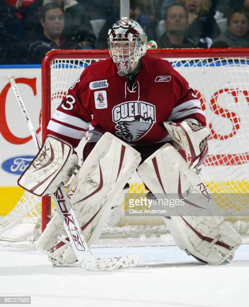 Thomas McCollum of the Guelph Storm waits for a shot in a game against the London Knights on November 16 2008 at the John Labatt Centre in London...
