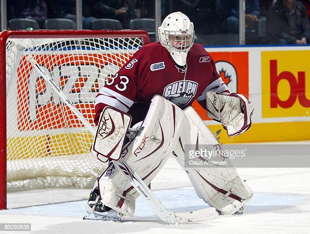 Thomas McCollum of the Guelph Storm watches the play in a game against the London Knights on October 11 2008 at the John Labatt Centre in London...