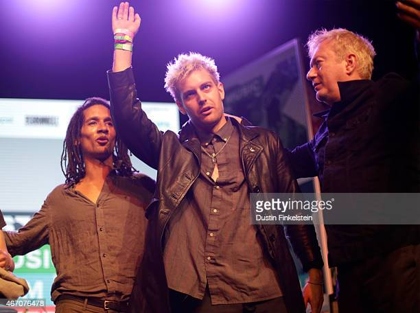 Thomas McNeice John 'Gaoler' Sterry and Andy Gill of Gang of Four perform onstage at the Radio Day Stage showcase during the 2015 SXSW Music Film...