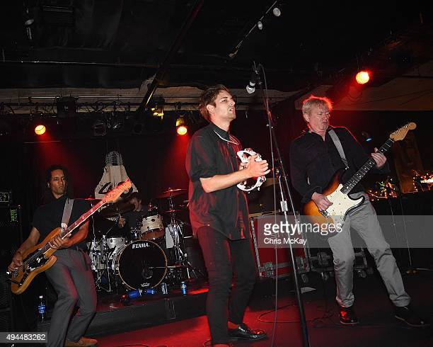 Thomas McNeice Jonny Finnegan John 'Gaoler' Sterry and Andy Gill of Gang Of Four perform at 40 Watt Club on October 26 2015 in Athens Georgia