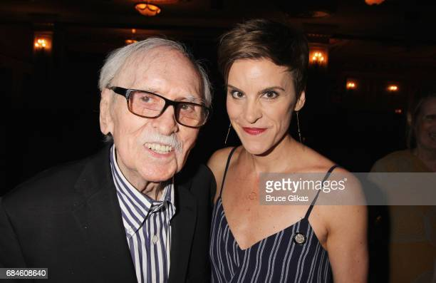 Thomas Meehan and Jenn Colella pose backstage at the hit musical 'Come From Away' on Broadway at The Gerald Schoenfeld Theatre on May 18 2017 in New...