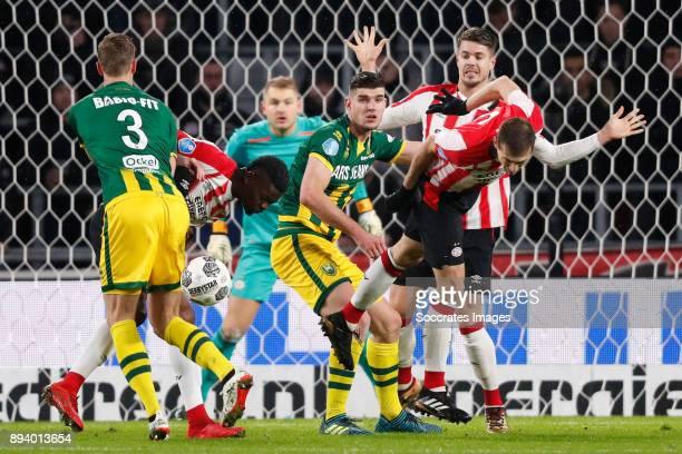 Thomas Meissner of ADO Den Haag, Nicolas Isimat of PSV, Nick Kuipers of ADO Den Haag, Daniel Schwaab of PSV during the Dutch Eredivisie match between...