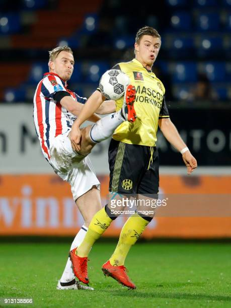Thomas Meissner of Willem II Jorn Vancamp of Roda JC during the Dutch KNVB Beker match between Willem II v Roda JC at the Koning Willem II Stadium on...