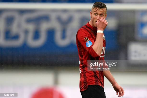 Thomas Meissner of Willem II leaves the pitch after a red card during the Dutch Eredivisie match between SC Heerenveen v Willem II at the Abe Lenstra...