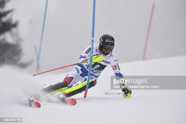 Thomas Mermillod Blondin of France in action during the Audi FIS Alpine Ski World Cup Men's Alpine Combined on January 18 2019 in Wengen Switzerland