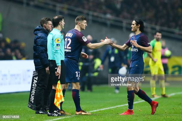 Thomas Meunier and Edinson Cavani of Paris Saint Germain during the Ligue 1 match between FC Nantes and Paris Saint Germain at Stade de la Beaujoire...
