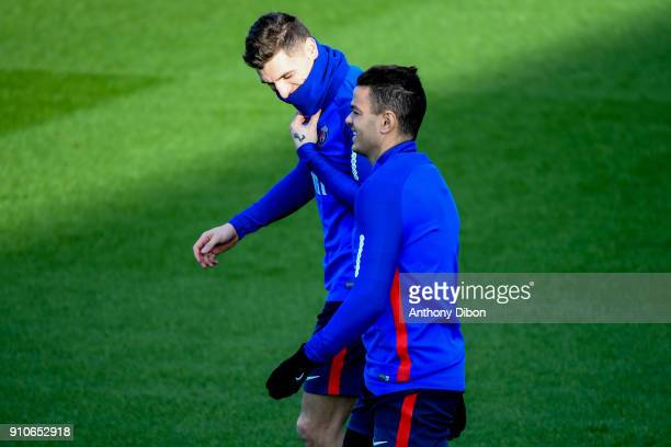 Thomas Meunier and Hatem Ben Arfa of PSG during training session of Paris Saint Germain PSG at Camp des Loges on January 26 2018 in Paris France