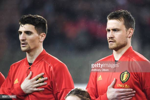 Thomas Meunier and Simon Mignolet of Belgium during the International friendly match between Belgium and Saudi Arabia on March 27 2018 in Brussel...