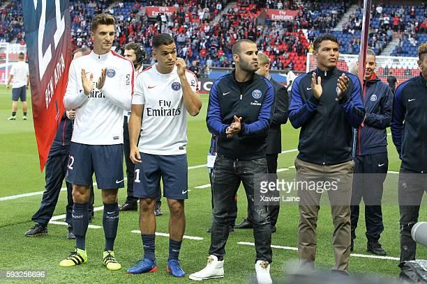 Thomas Meunier Atem Ben Arfa Jese Rodriguez and Thiago Silva of Paris SaintGermain during the French Ligue 1 match between Paris SaintGermain and FC...