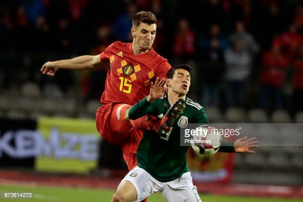 Thomas Meunier defender of Belgium and Hirving Lozano forward of Mexico during a FIFA international friendly match between Belgium and Mexico at the...