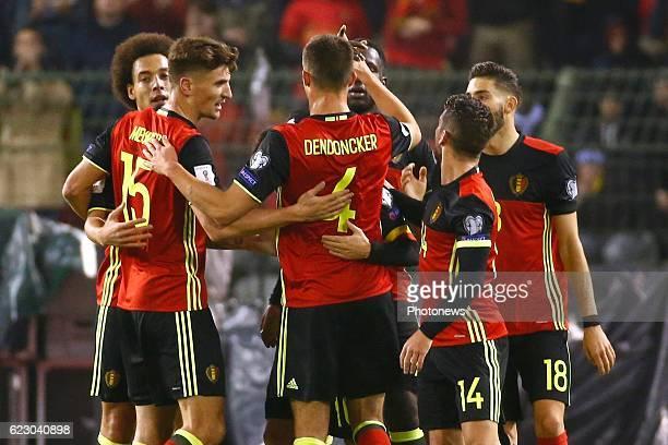 Thomas Meunier defender of Belgium celebrates during the World Cup Qualifier Group H match between Belgium and Estonia at the King Baudouin Stadium...