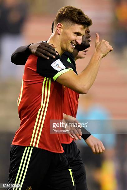 Thomas Meunier defender of Belgium celebrates scoring a goal during the World Cup Qualifier Group H match between Belgium and Estonia at the King...