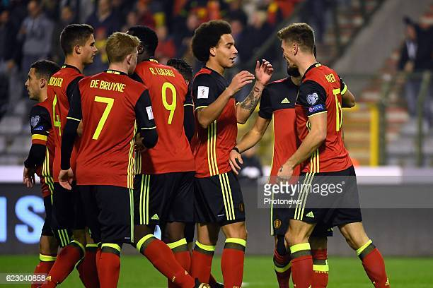 Thomas Meunier defender of Belgium celebrates scoring a goal with teammates during the World Cup Qualifier Group H match between Belgium and Estonia...