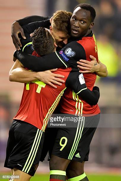 Thomas Meunier defender of Belgium celebrates scoring a goal with Dries Mertens forward of Belgium and Romelu Lukaku forward of Belgium during the...