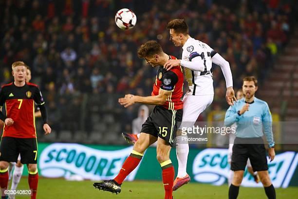 Thomas Meunier defender of Belgium during the World Cup Qualifier Group H match between Belgium and Estonia at the King Baudouin Stadium on November...