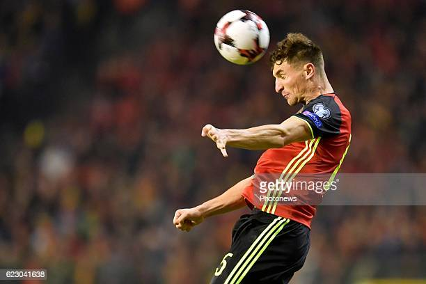 Thomas Meunier defender of Belgium in action during the World Cup Qualifier Group H match between Belgium and Estonia at the King Baudouin Stadium on...