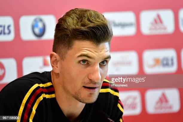 Thomas Meunier defender of Belgium pictured during a press conference as part of the preparation prior to the FIFA 2018 World Cup Russia Playoff for...