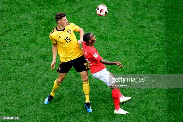 Thomas Meunier defender of Belgium Raheem Sterling forward of England during the FIFA 2018 World Cup Russia Playoff for third place match between...