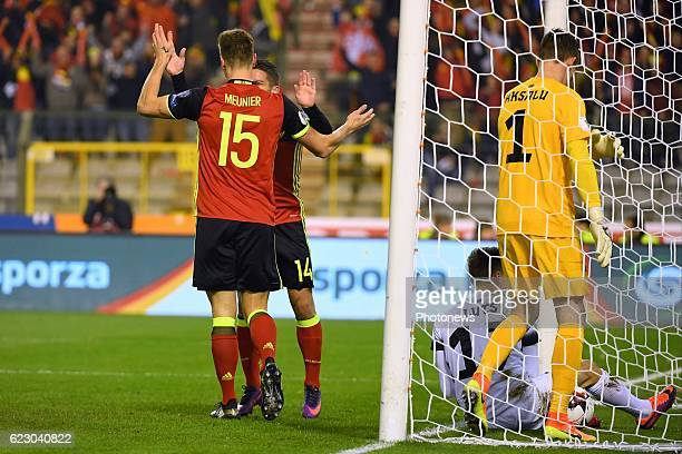 Thomas Meunier defender of Belgium scores the opening goal during the World Cup Qualifier Group H match between Belgium and Estonia at the King...