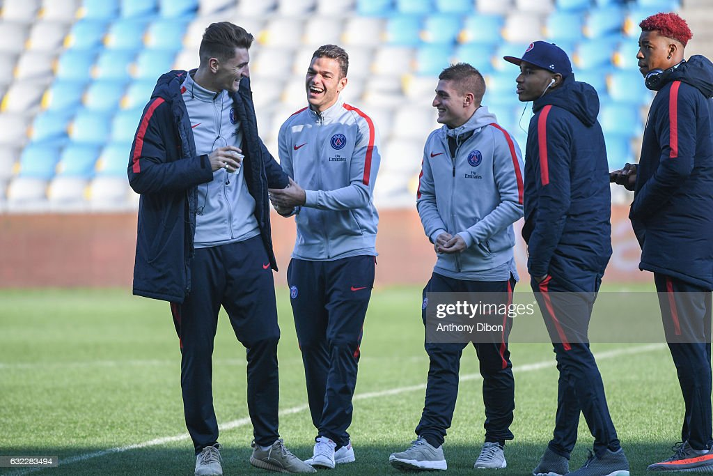 Thomas Meunier, Hatem Ben Arfa, Marco Verratti, Presnel Kimpembe and Christopher Nkunku of PSG during the French Ligue 1 match between Nantes and Paris Saint Germain at Stade de la Beaujoire on January 21, 2017 in Nantes, France.