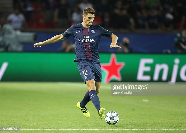 Thomas Meunier in action during the UEFA Champions League group phase match between Paris SaintGermain and Arsenal FC at Parc des Princes on...
