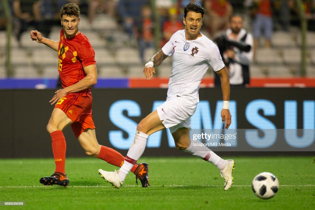 Thomas MEUNIER Jose FONTE during a friendly game between Belgium and Portugal , as part of preparations for the 2018 FIFA World Cup in Russia, on June 2, 2018 in Brussels, Belgium. Photo by Frank Abbeloos - Isosport