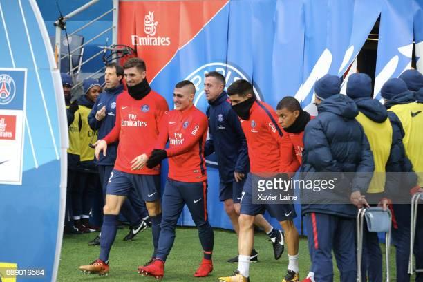Thomas Meunier Marco Verratti Yuri Berchiche and Kylian Mbappe of Paris SaintGermain before the Ligue 1 match between Paris Saint Germain and Lille...