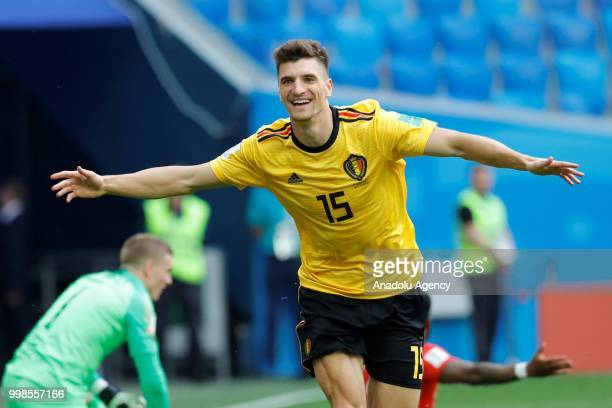 Thomas Meunier of Belgium celebrates after scoring a goal during the 2018 FIFA World Cup Russia PlayOff for Third Place between Belgium and England...