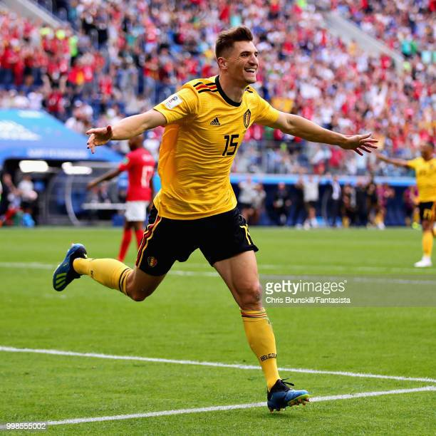 Thomas Meunier of Belgium celebrates after scoring his sides first goal during the 2018 FIFA World Cup Russia 3rd Place Playoff match between Belgium...