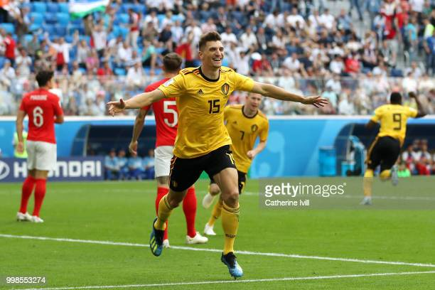 Thomas Meunier of Belgium celebrates after scoring his team's first goal during the 2018 FIFA World Cup Russia 3rd Place Playoff match between...