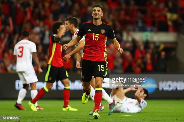 Thomas Meunier of Belgium celebrates scoring a goal with during the FIFA 2018 World Cup Qualifier between Belgium and Gibraltar at Stade Maurice...