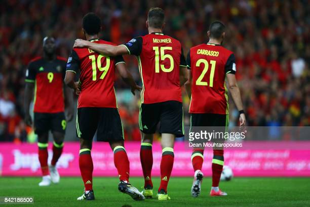 Thomas Meunier of Belgium celebrates scoring a goal with team mates Yannick Carrasco and Mousa Dembele during the FIFA 2018 World Cup Qualifier...