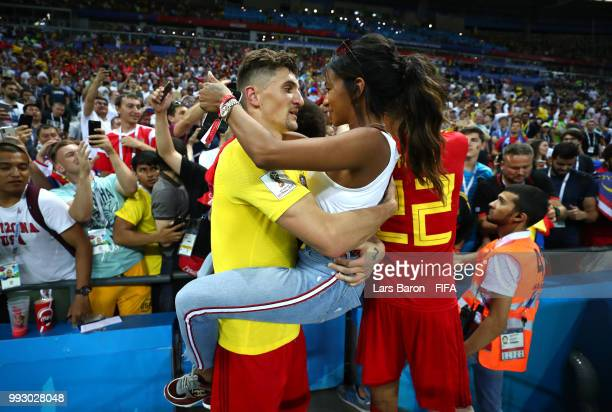 Thomas Meunier of Belgium celebrates with his girlfriend Deborah Panzokou following his sides victory in the 2018 FIFA World Cup Russia Quarter Final...