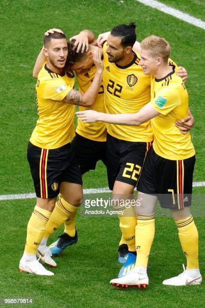 Thomas Meunier of Belgium celebrates with his teammates after scoring a goal during the 2018 FIFA World Cup Russia PlayOff for Third Place between...