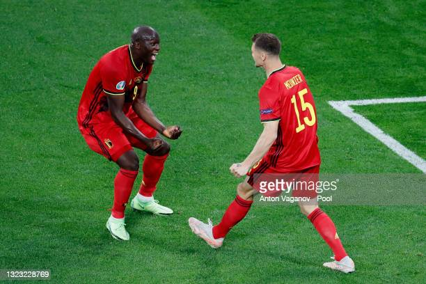 Thomas Meunier of Belgium celebrates with Romelu Lukaku and team mates after scoring their side's second goal during the UEFA Euro 2020 Championship...