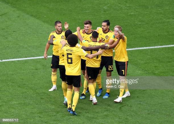 Thomas Meunier of Belgium celebrates with team mates after scoring his team's first goal during the 2018 FIFA World Cup Russia 3rd Place Playoff...