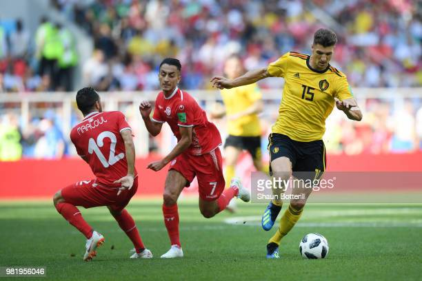 Thomas Meunier of Belgium challenge for the ball with Ali Maaloul and Saifeddine Khaoui of Tunisia during the 2018 FIFA World Cup Russia group G...