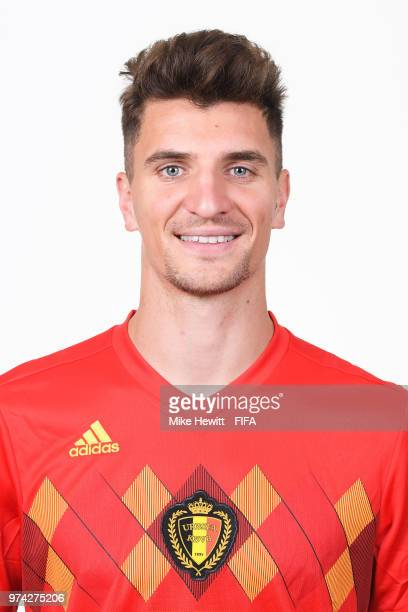 Thomas Meunier of Belgium poses for a portrait during the official FIFA World Cup 2018 portrait session at the Moscow Country Club on June 14 2018 in...