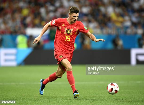 Thomas Meunier of Belgium runs with the ball during the 2018 FIFA World Cup Russia Round of 16 match between Belgium and Japan at Rostov Arena on...