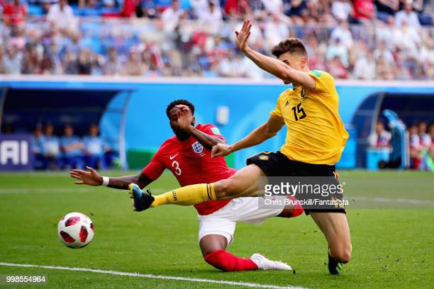 Thomas Meunier of Belgium scores his sides first goal during the 2018 FIFA World Cup Russia 3rd Place Playoff match between Belgium and England at...