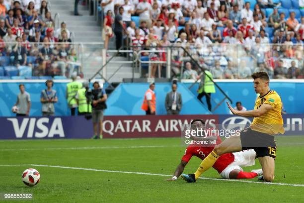 Thomas Meunier of Belgium scores his team's first goal during the 2018 FIFA World Cup Russia 3rd Place Playoff match between Belgium and England at...