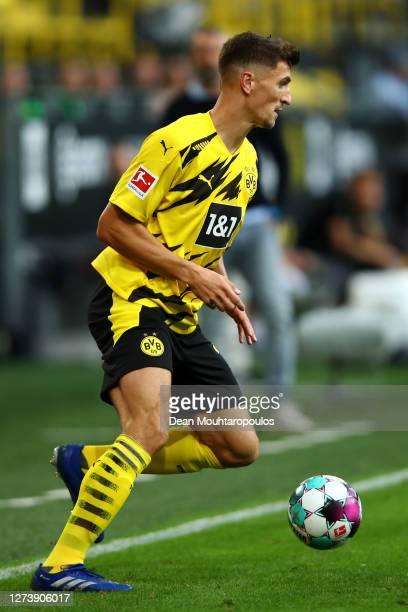 Thomas Meunier of Borussia Dortmund in action during the Bundesliga match between Borussia Dortmund and Borussia Moenchengladbach at Signal Iduna...
