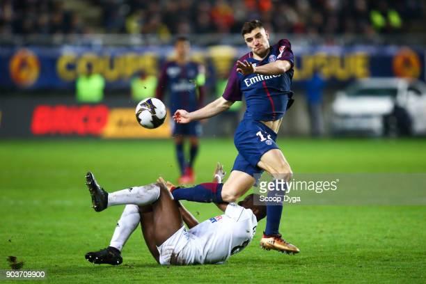 Thomas Meunier of Paris Saint Germain and Guessouma Fofana of Amiens SC during the Ligue 1 match between Amiens and Paris Saint Germain at Stade de...