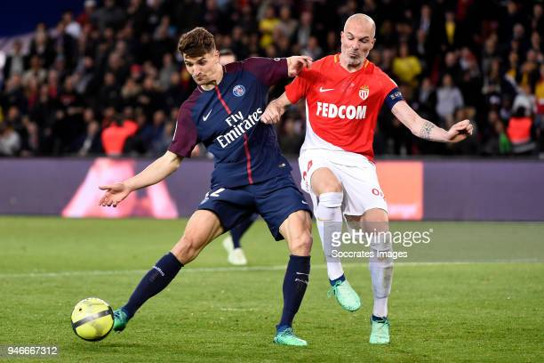 Thomas Meunier of Paris Saint Germain Andrea Raggi of AS Monaco during the French League 1 match between Paris Saint Germain v AS Monaco at the Parc...