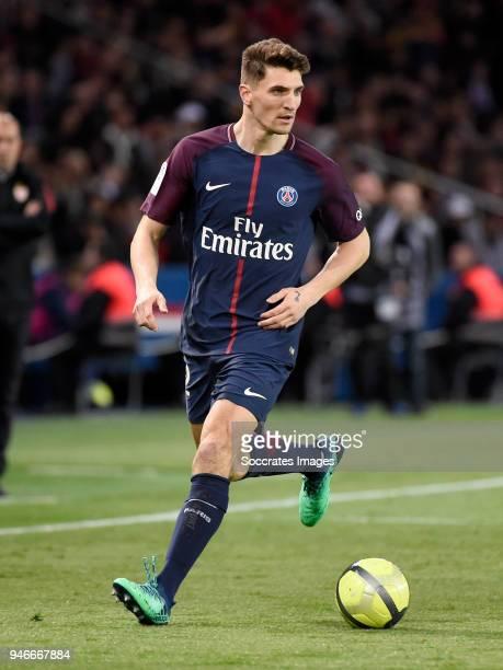 Thomas Meunier of Paris Saint Germain during the French League 1 match between Paris Saint Germain v AS Monaco at the Parc des Princes on April 15...