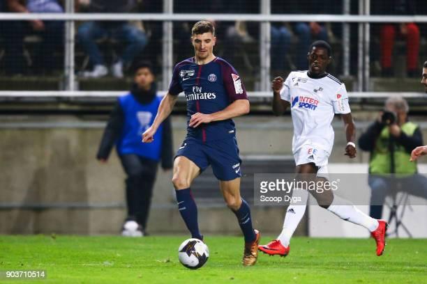 Thomas Meunier of Paris Saint Germain during the Ligue 1 match between Amiens and Paris Saint Germain at Stade de la Licorne on January 10 2018 in...