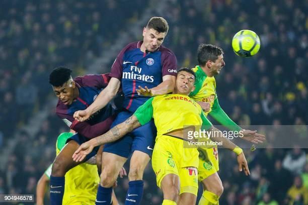 Thomas Meunier of Paris Saint Germain during the Ligue 1 match between FC Nantes and Paris Saint Germain at Stade de la Beaujoire on January 14 2018...