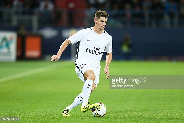 Thomas Meunier of Paris Saint Germain during the Ligue 1 match between SM Caen and Paris Saint Germain at Stade Michel D'Ornano on September 16 2016...