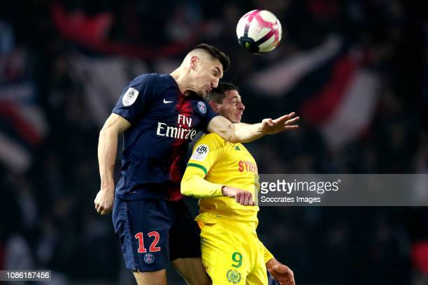 Thomas Meunier of Paris Saint Germain Emiliano Sala of FC Nantes during the French League 1 match between Paris Saint Germain v Nantes at the Parc...